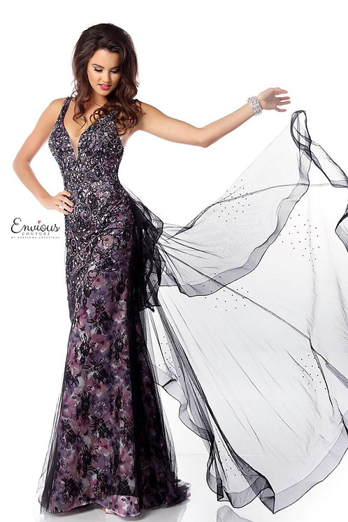 Envious Couture - PRINTED SATIN/BEADED TULLE OVERLAY  - 18021