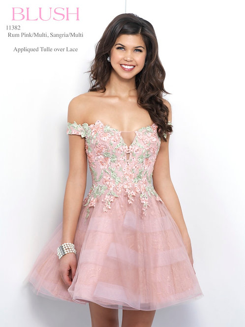 Blush/Appliqued Tulle over Lace - 11382