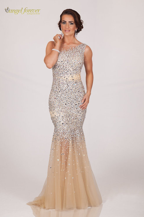 Heavily Beaded Tulle With High Neck