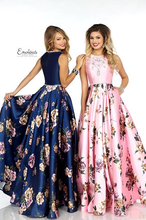 Envious Couture - BEADED PRINTED MIKADO  - 18091