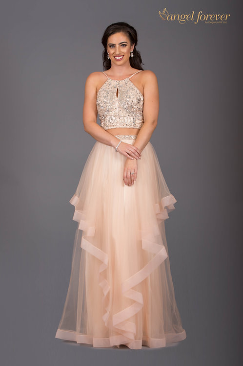 Heavily Beaded Two Piece Top & Skirt Long Dress With Ruffles