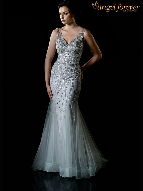 Heavily Beaded Halter Neck Style on Tulle Fabric