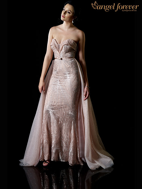 Fishtail Sweetheart Neck With Cape From Waist, Lace & Tulle Fabric
