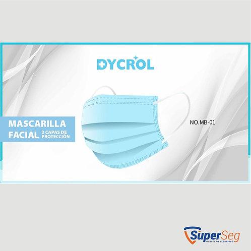 MASCARILLA DESECHABLE RECTANGULAR 3 CAPAS DYCROL CAJA X50 UND