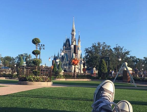 On set at the Magic Kingdom
