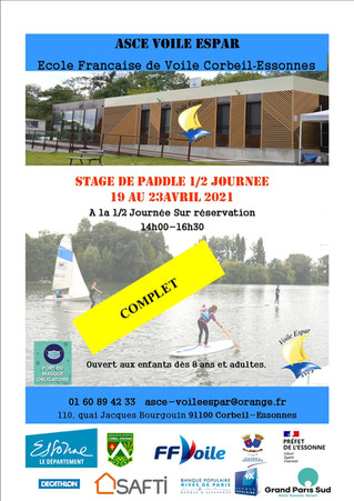 COMPLET - Stage de paddle du 19 au 23 avril 2021