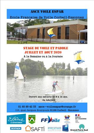 Stage de voile et paddle - Juillet et Août 2020