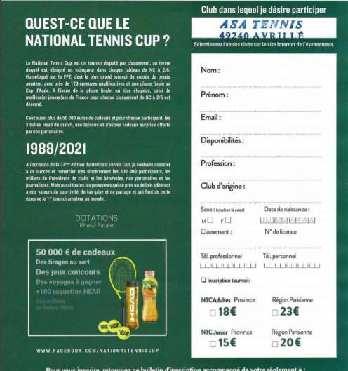 National Tennis Cup au club d'Avrillé !