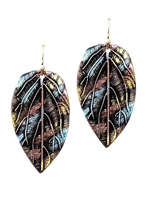Multicolored Brshed Metal Leaf Shape Boho Earring