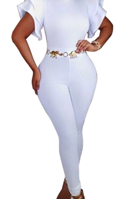 Falbala Design White Polyester One-piece Skinny Jumpsuits(Without Belt)