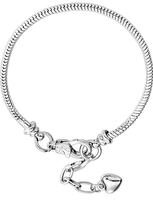 White Silver Plated Heart Lobster snake chain