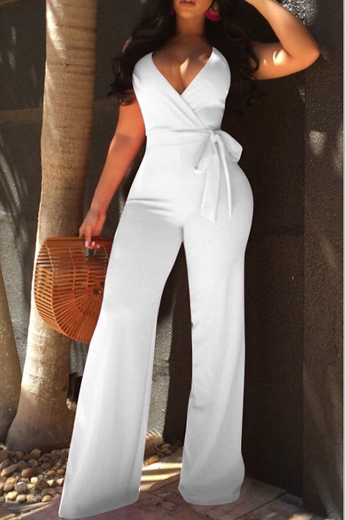 Elegant V Neck SleeveLess White Polyester One-piece Jumpsuits(With Belt)