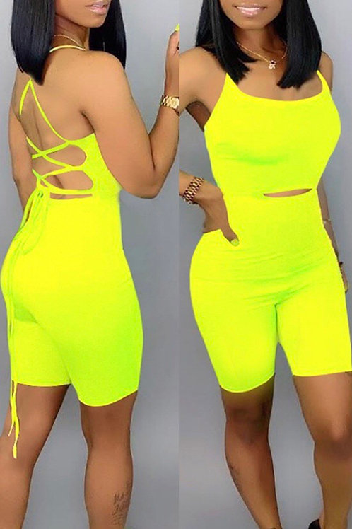 Lace-up Hollow-out Yellow One-piece Romper(With Elastic)