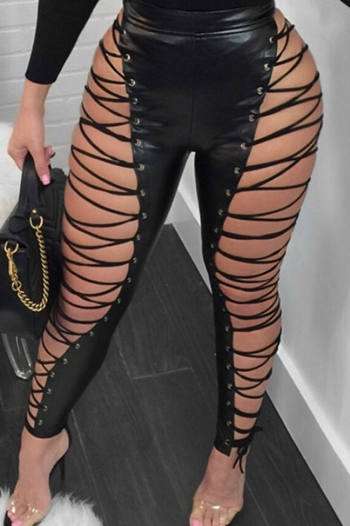 Sexy Waist Lace-Up Leather pants