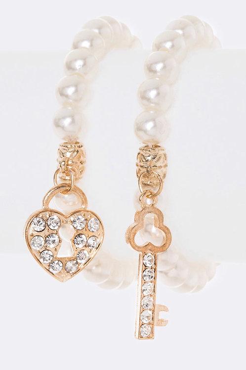 Heart Lock And Key Pearl Stretch Bracelet Set