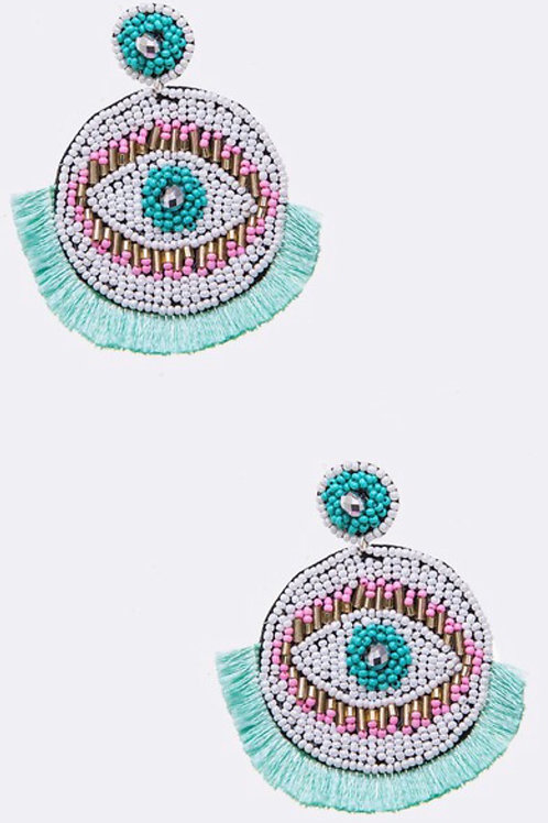 Beaded Eye Tassel Earrings