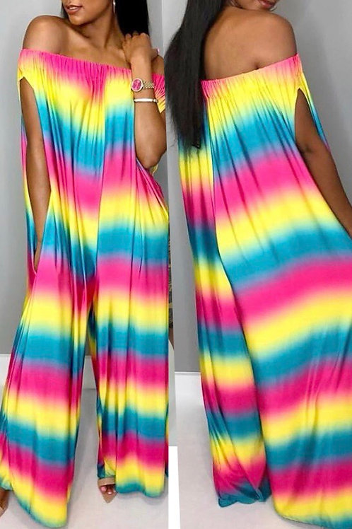 Rainbow Printed Multicolor One-piece Jumpsuits