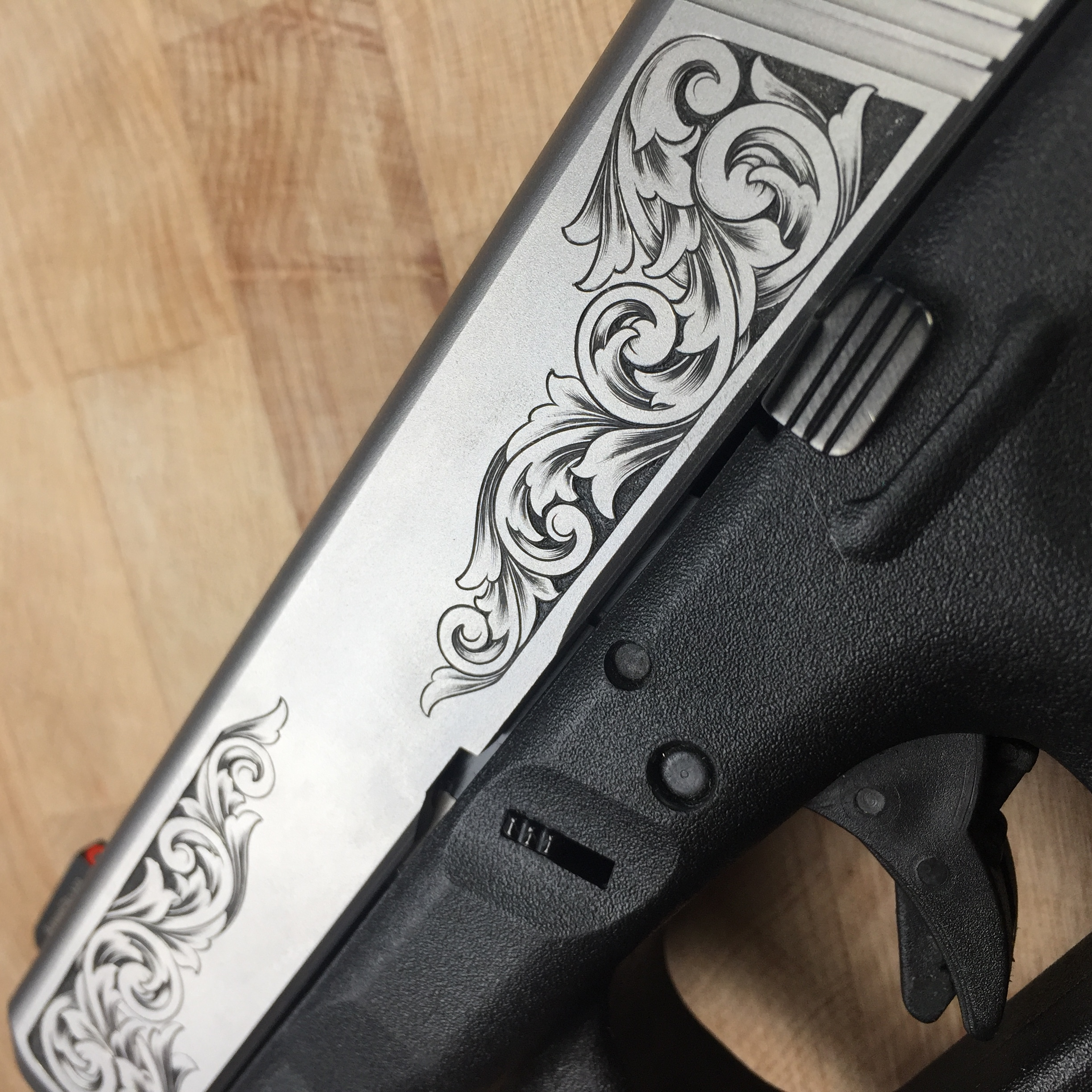 Glock 26 slide on frame detail