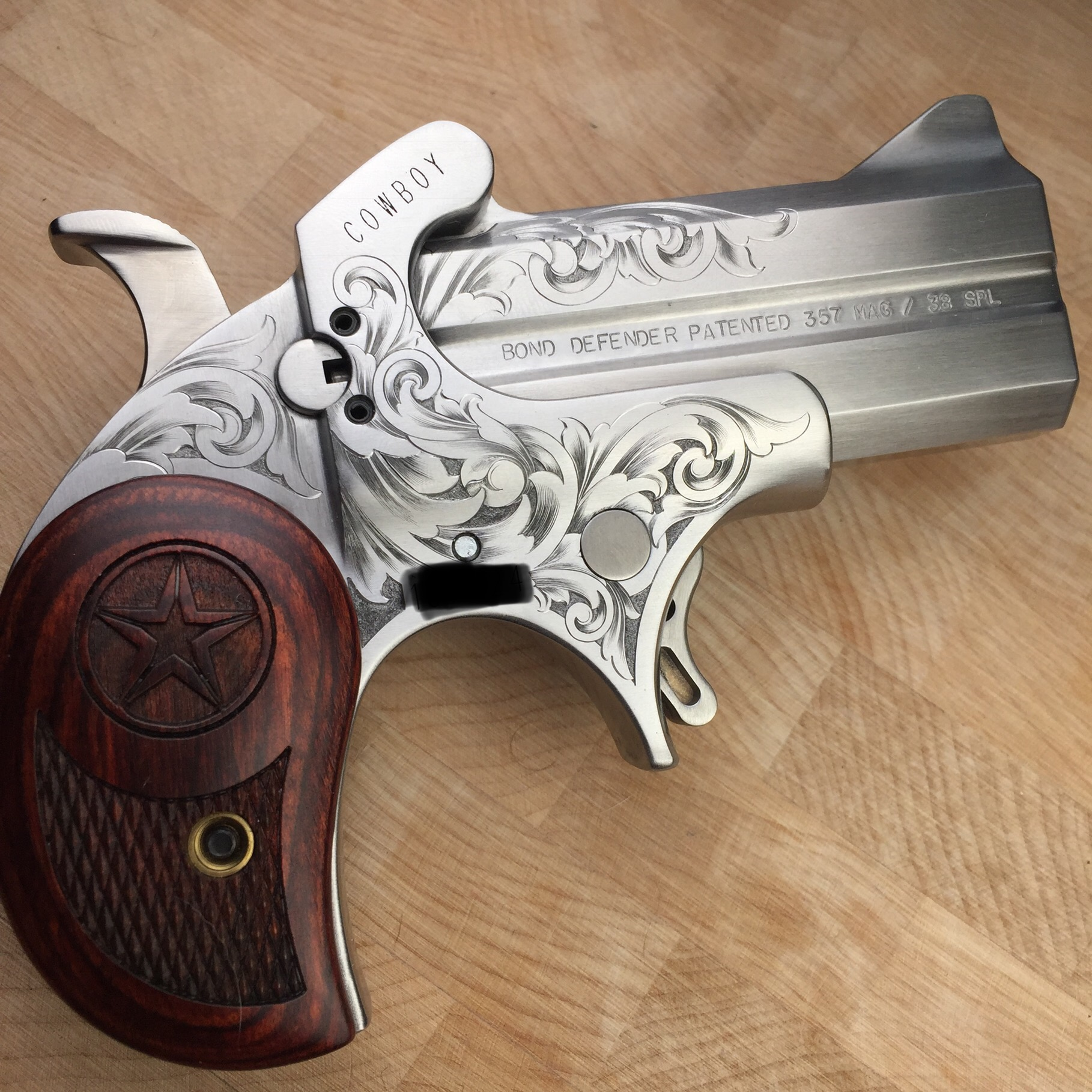 hand engraved Bond Arms derringer