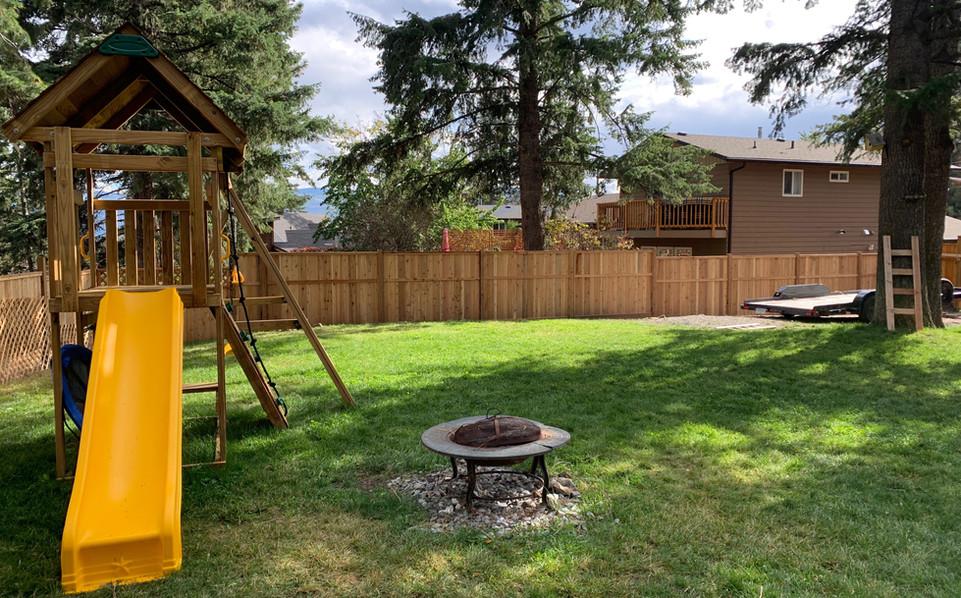 Vertical cedar privacy fence