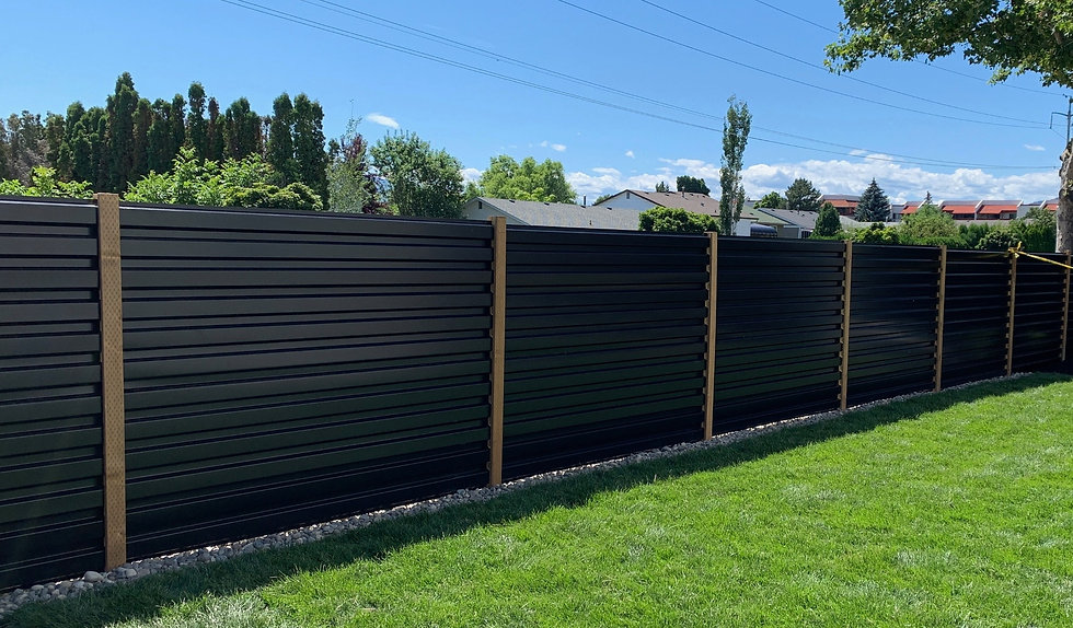 Black Corrugated Metal Fence