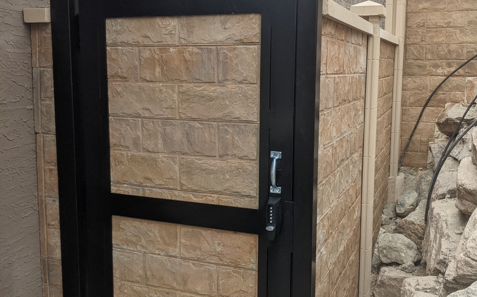 Concrete gate with aluminum frame