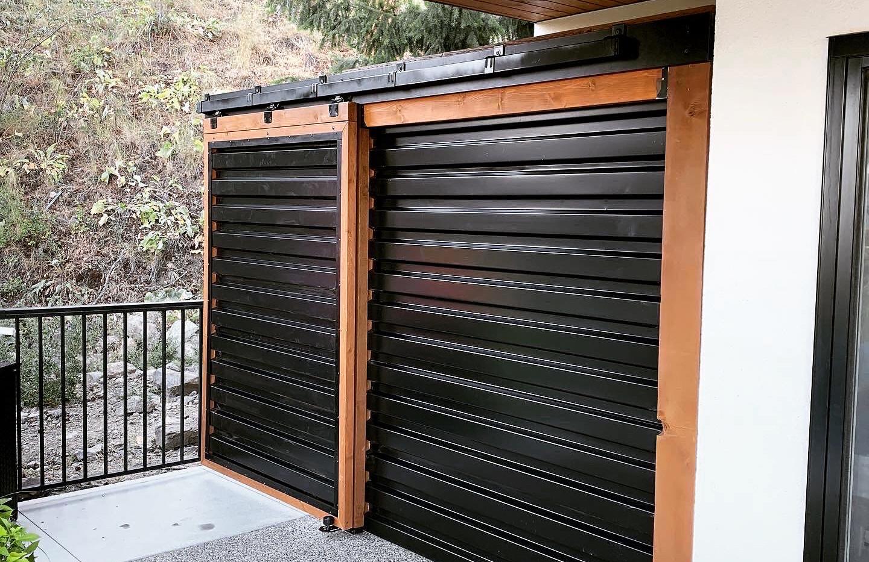 Black corrugated barn door.JPG