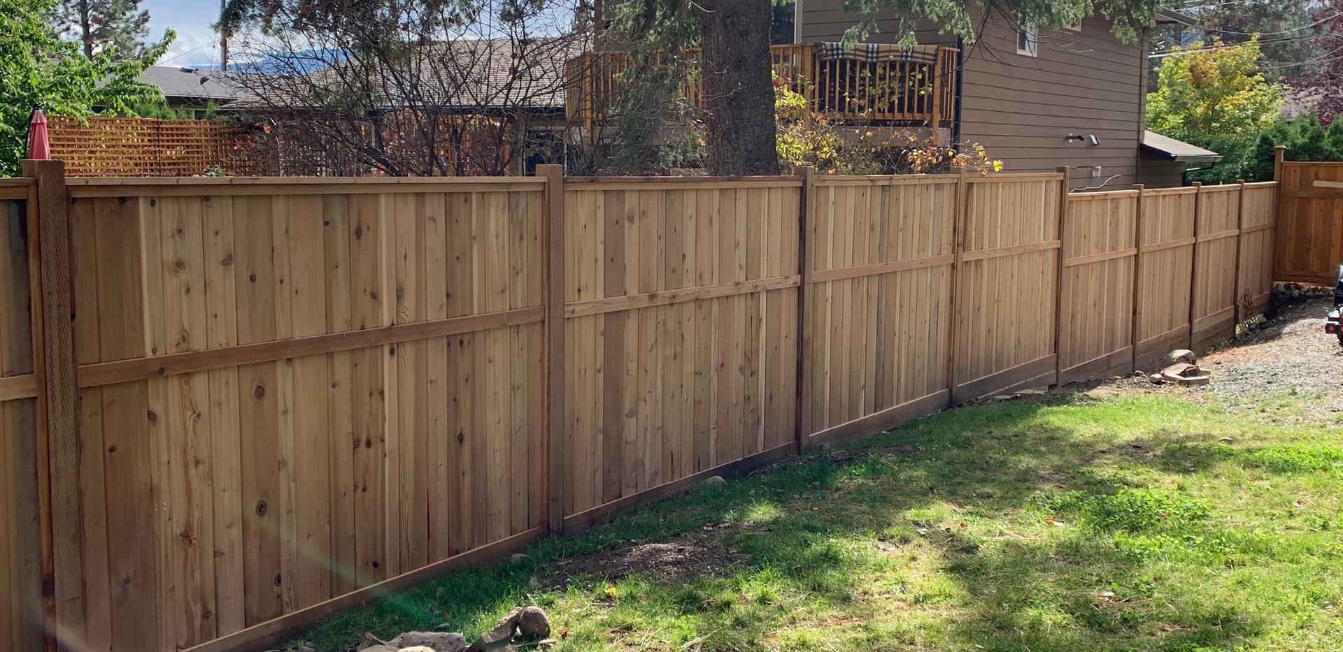 Vertical cedar fence