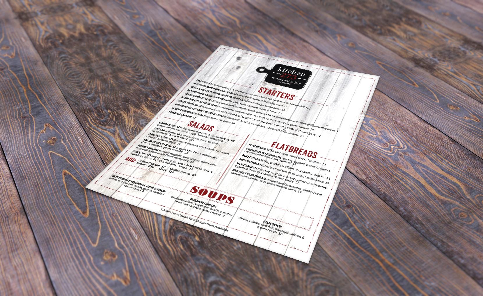 Kitchen 273 Menu Design