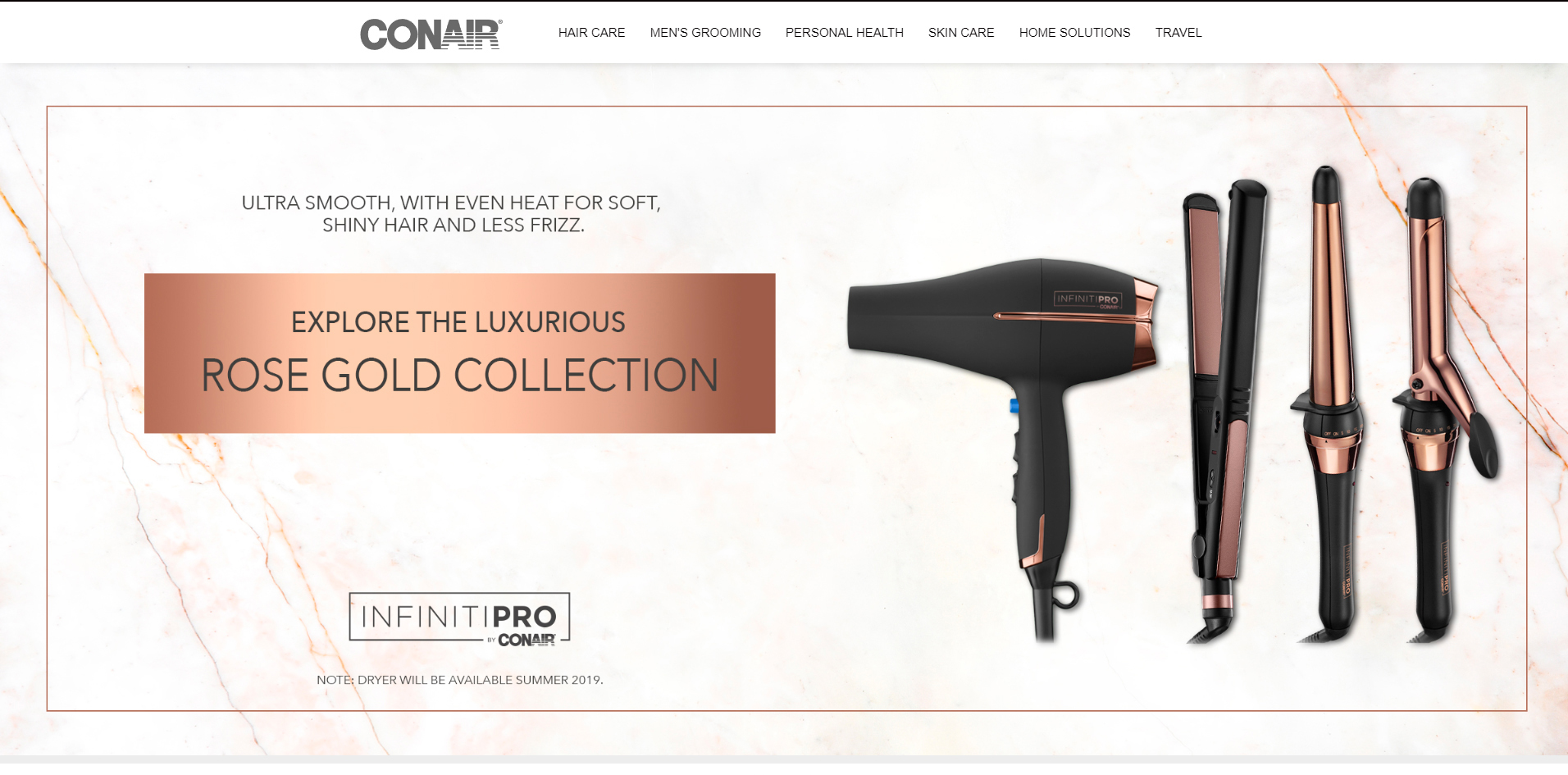 Conair - Rose Gold Collection Banner Des