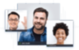 Imagem com 3 fotos de pessoas conversando por meio de vídeo conferência (online)