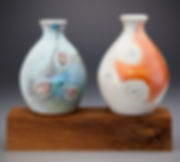 Side fired Shino and Micro-Crystalline Bottle Vases on a Pedestal