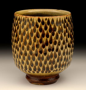 Wood fired Carved Celadon Yunomi