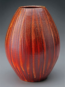 Brushed Shino Woodfired Vase