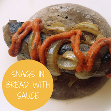 Snags in Bread with Sauce