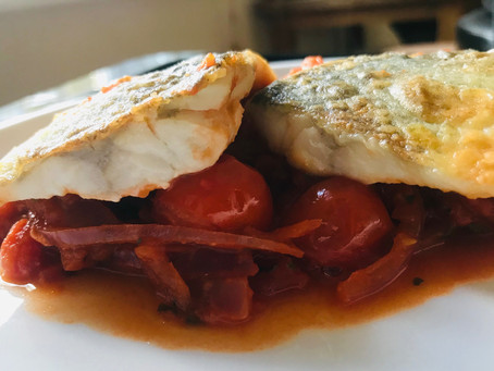 Pan Fried Fillet of Sea Bass with Tomato & Ginger