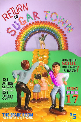 Return to Sugar Town Vintage Soul Dance Party Poster, DJ Action Slacks Portland Soul DJ, the Spare Room soul night, Queer Soul Dance Party Poster, Portland Graphic Designer