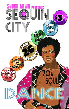 Sugar Town Sequin City 70s Soul Disco Dance Party Poster, DJ Action Slacks, The Foggy Notion, Portland Graphic Designer