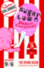 Sugar Town Dance Carnival Vintage Soul Dance Party Poster, DJ Action Slacks Portland Soul DJ, the Spare Room soul night, Portland Graphic Designer
