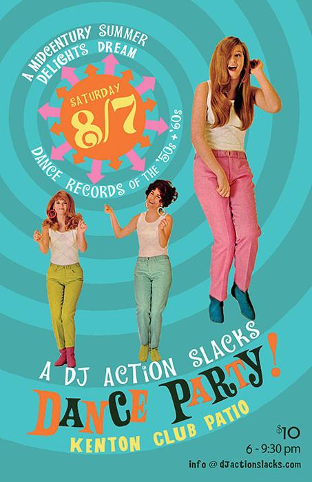 DJ Action Slacks Portland Patio Party, Oldies Dance Party Poster, 1960s Dance Party Poster, vintage records dance party, Portland Soul DJ, Soul Dance Party Poster