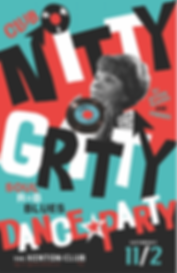 Club Nitty Gritty Rhythm & Blues Dance Party Poster, Mable John, DJ Action Slacks Portland Soul DJ, Kenton Club Soul Night, Elvis Birthday Event, Soul Dance Party Poster, Portland Graphic Designer