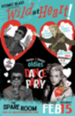 Atomic Blast presents Wild At Heart Oldies Dance Party, DJ Action Slacks Portland Soul DJ, Rockabilly Dance Party, 1950s Dance Party, 1960s Dance Party Poster, Th Spare Room, DJ Acton Slacks Portland Soul DJ, Oldie Dance Party Poster, Rockabilly DanceParty Poster