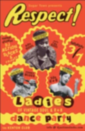 DJ Action Slacks the Kenton Club, Respect Ladies of Vintage Soul Dance Party 2020,  60s Soul Dance Party Poster, Sugar Town Portland, DJ Action Slacks Portland Soul Dj, Portland Ladies of Soul Night Poster