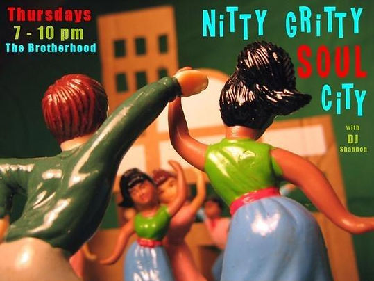Nitty Gritty Soul City Dance Party, DJ Shannon, DJ Action Slacks, The Brotherhood Lounge Olympia Washington, 60s Soul Dance Party Poster,