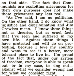 Excerpt from Josh White's statement to the House of Unamerican Activties - 1950