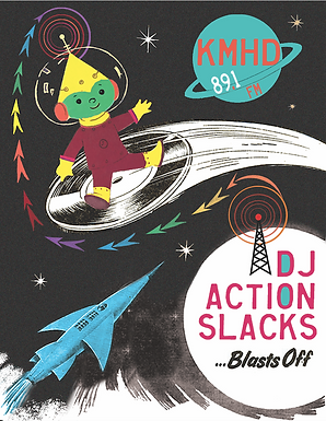 DJ Action Slacks KMHD Travlin' the Tracks, Portland Soul Dj, Portland Graphic Designer,