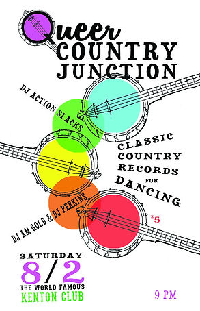Banjo Queer Country Junction Classic Country Dance Party Poster, the Kenton Club, DJ Action Slacks Classic Country DJ, Portland Queer Dance Party Poster, Portland Graphic Designer