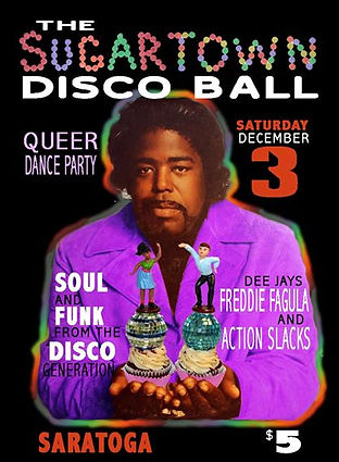 Sugar Town Disco Ball 70s Soul Disco Dance Party Poster, DJ Action Slacks Portland Soul DJ, The Saratoga, Portland Graphic Designer