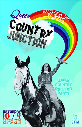 DJ Action Slacks Portland Classic Country DJ, Queer Country Junction, the Kenton Club, Vintage Classic Country Music Dance Party Poster, Portland Graphic Designer