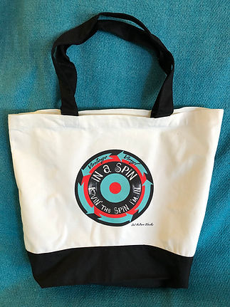 DJ Action Slacks Vintage Vinyl In A Spin Tote